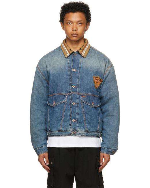 メンズ DIESEL D4d コレクション ブルー J3 デニム ジャケット Blue