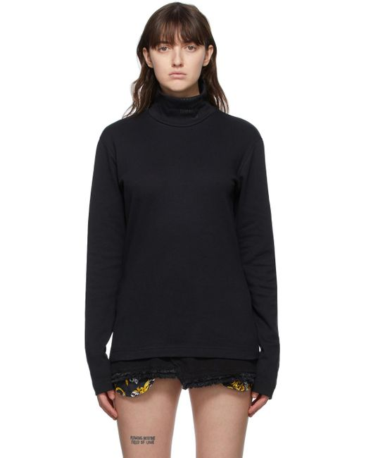 Versace Jeans ブラック ロゴ タートルネック Black