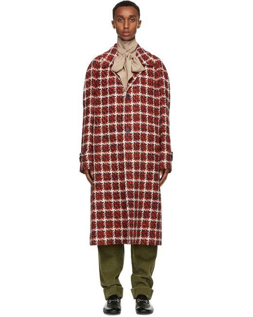 メンズ Gucci レッド ウール ツイード コート Red