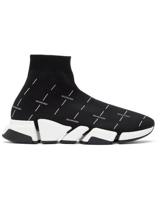 メンズ Balenciaga ブラック & ホワイト Speed 2.0 ロゴ スニーカー Black