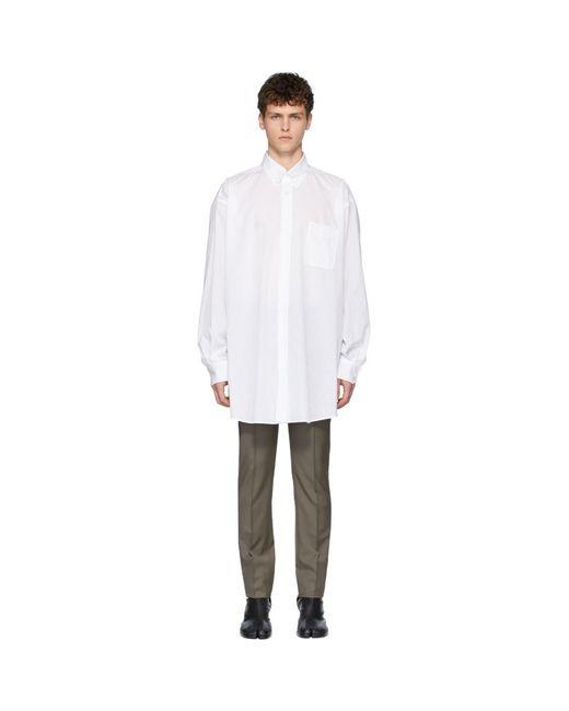 メンズ Maison Margiela ホワイト オーバーサイズ ボイル ストライプ シャツ White
