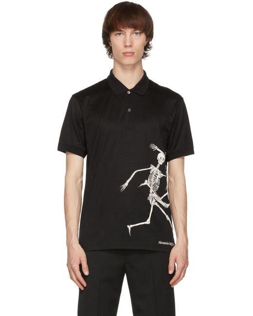 メンズ Alexander McQueen ブラック ポロシャツ Black