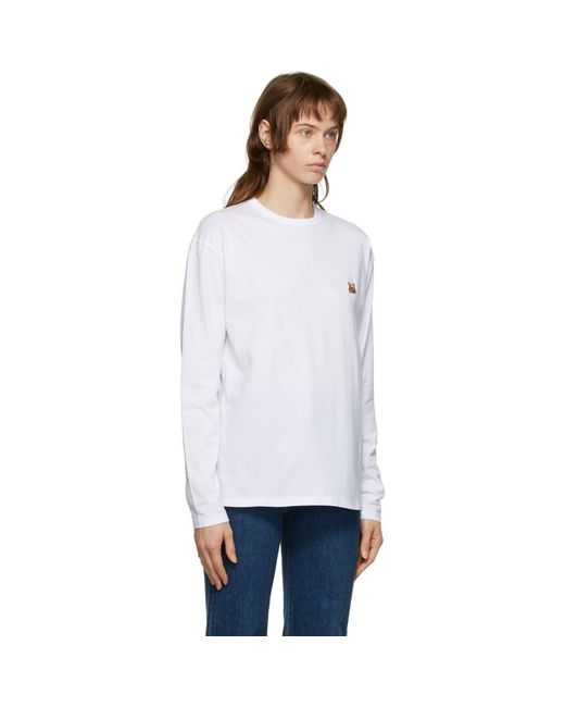 Maison Kitsuné ホワイト Fox Head ロング スリーブ T シャツ White