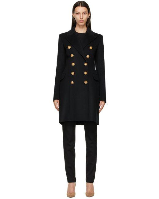 Balmain ブラック ダブルブレスト コート Black