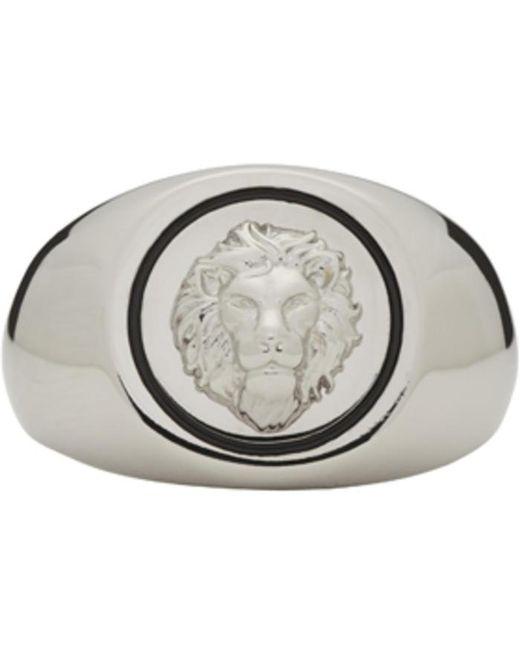 Versus    Metallic Silver Lion Head Ring for Men   Lyst