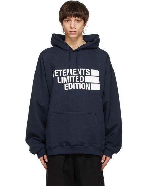 メンズ Vetements ネイビー Limited Edition Big ロゴ フーディ Blue