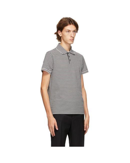 メンズ Saint Laurent ブラック And ホワイト ストライプ ポロシャツ Black