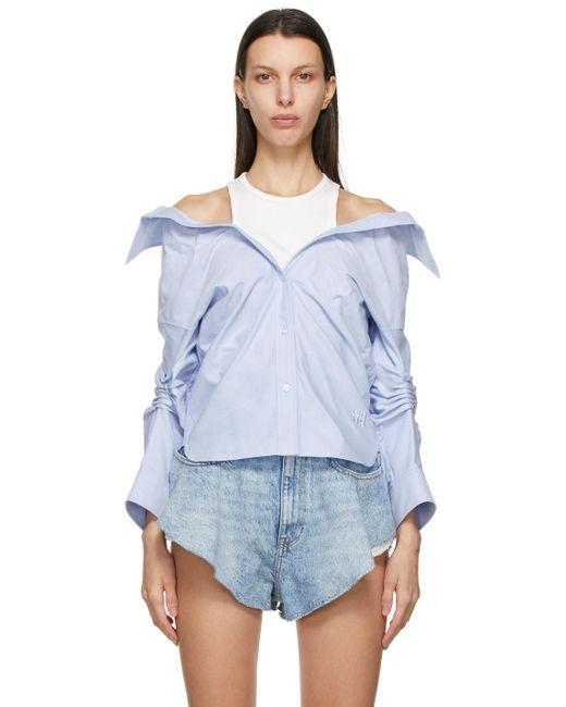 Chemise à épaules dénudées bleue T By Alexander Wang en coloris Blue
