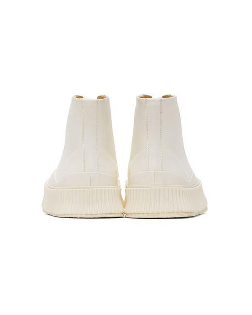 メンズ Jil Sander オフホワイト バルカナイズ ハイトップ スニーカー White