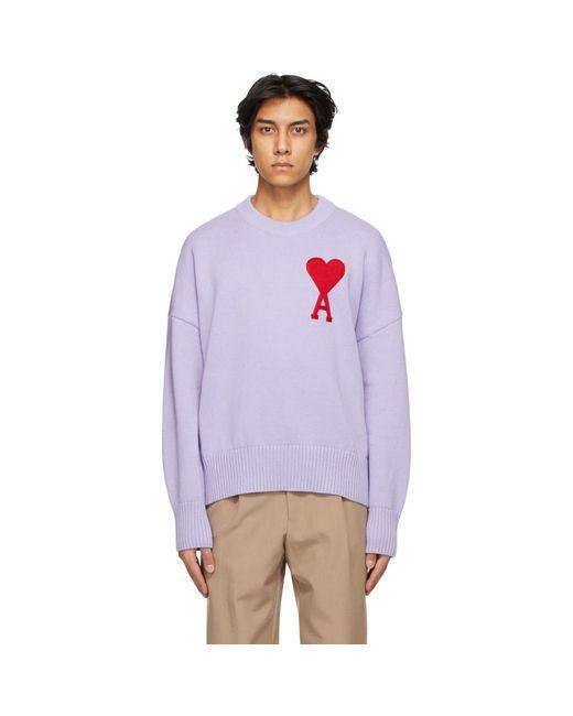 メンズ AMI パープル Ami De Coeur オーバーサイズ セーター Purple