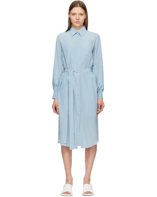Nina Ricci ブルー シルク シャツ ドレス Blue