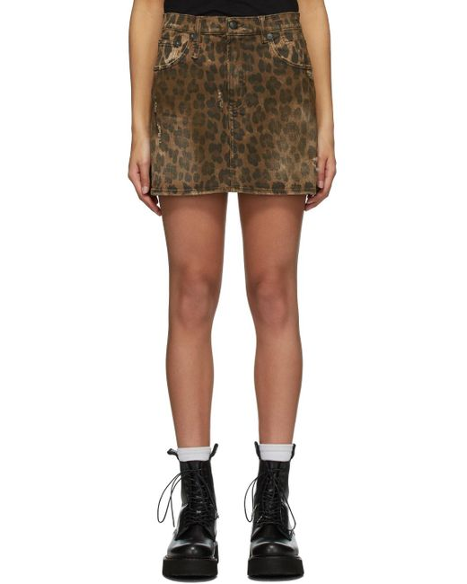 R13 ブラウン デニム Leopard ミニスカート Brown