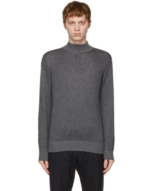 メンズ Loro Piana グレー & ネイビー Woodmere セーター Gray