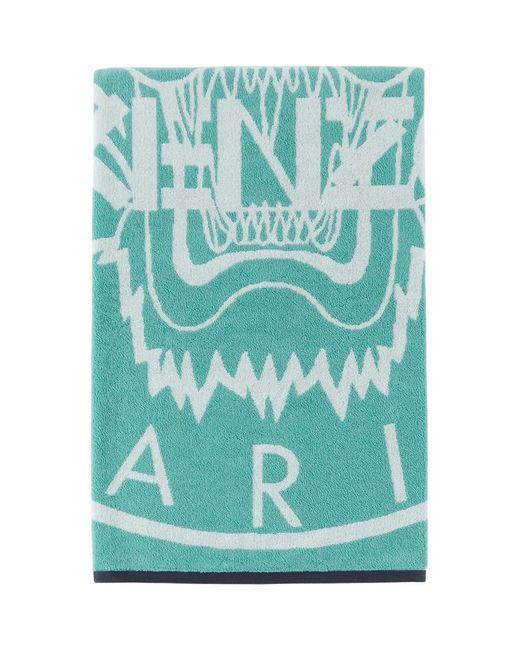 メンズ KENZO ブルー And ホワイト Tiger Stamp ビーチ タオル Blue