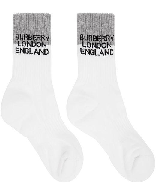 メンズ Burberry ホワイト & グレー ツートーン ロゴ ソックス White