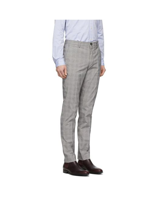 PS by Paul Smith Pantalon chinos a carreaux gris homme