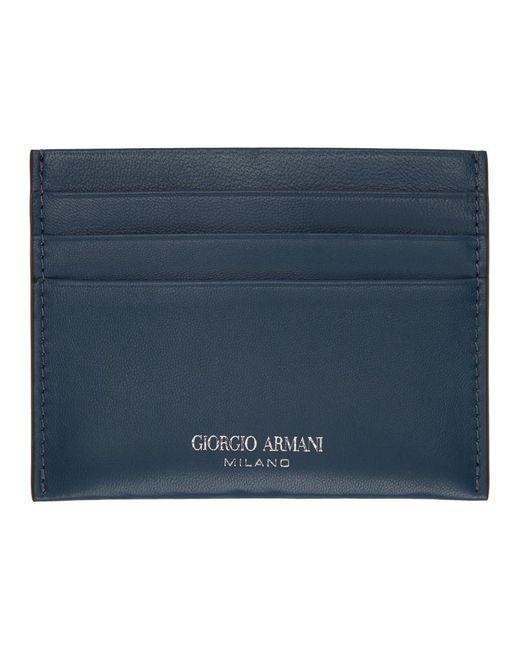 メンズ Giorgio Armani ネイビー ロゴ カード ケース Blue