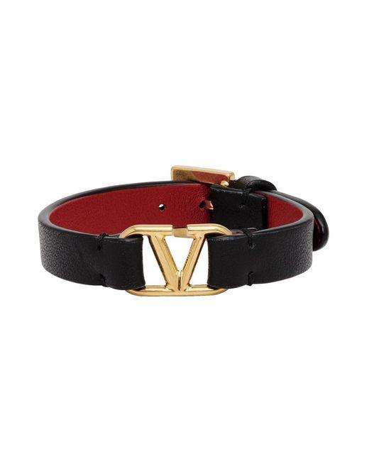 Valentino Garavani コレクション ブラック And レッド Vlogo ブレスレット Black