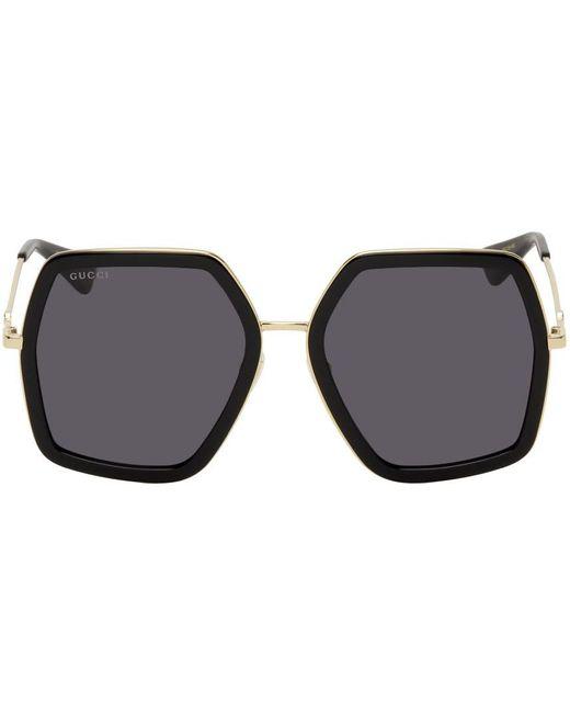 Gucci ゴールド & ブラック オーバーサイズ アンギュラー サングラス Metallic