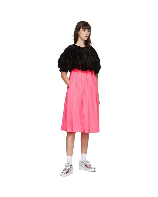 Comme des Garçons ブラック And ピンク ベルベット ミディ ドレス Pink