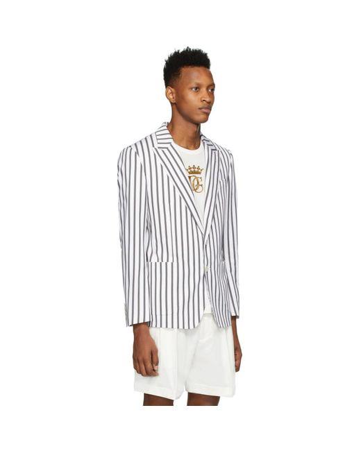 メンズ Dolce & Gabbana ホワイト ストライプ ブレザー White