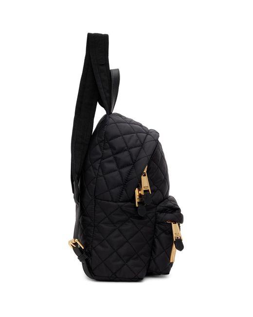 Moschino ブラック スモール キルティング ロゴ バックパック Black