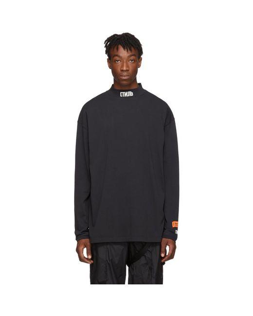 メンズ Heron Preston ブラック タートルネック Style ロング スリーブ T シャツ Multicolor