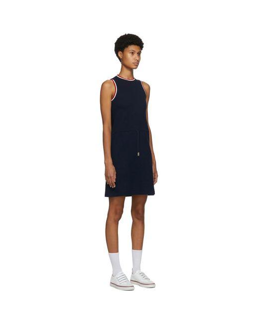 Thom Browne ネイビー シアサッカー ドローストリング ウエスト ドレス Blue
