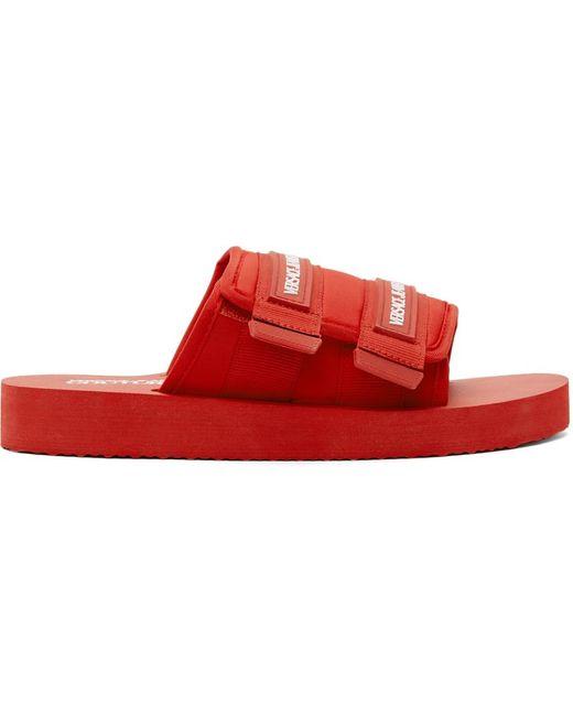 メンズ Versace Jeans レッド Strap ロゴ スライド Red