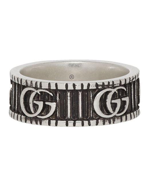 メンズ Gucci シルバー ダブル G リング Metallic