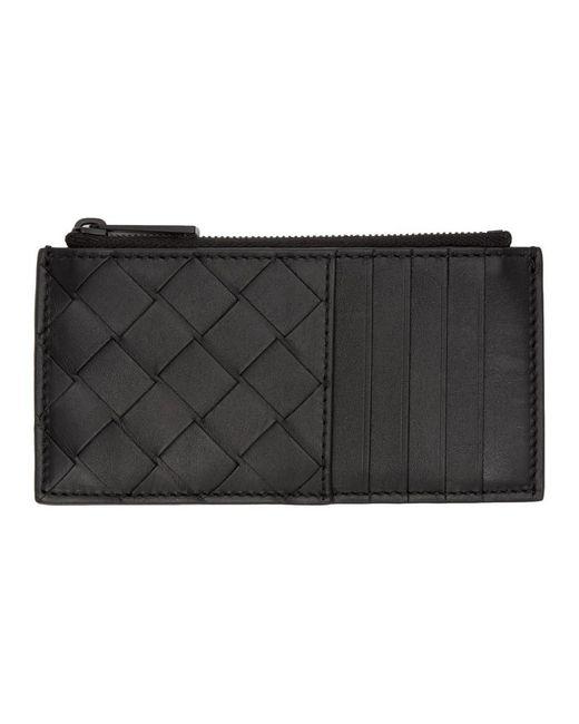 メンズ Bottega Veneta ブラック イントレチャート ジッパー カード ホルダー Black