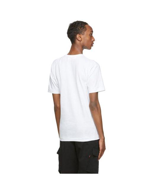メンズ COMME DES GARÇONS PLAY ホワイト And レッド マルチ ロゴ T シャツ White