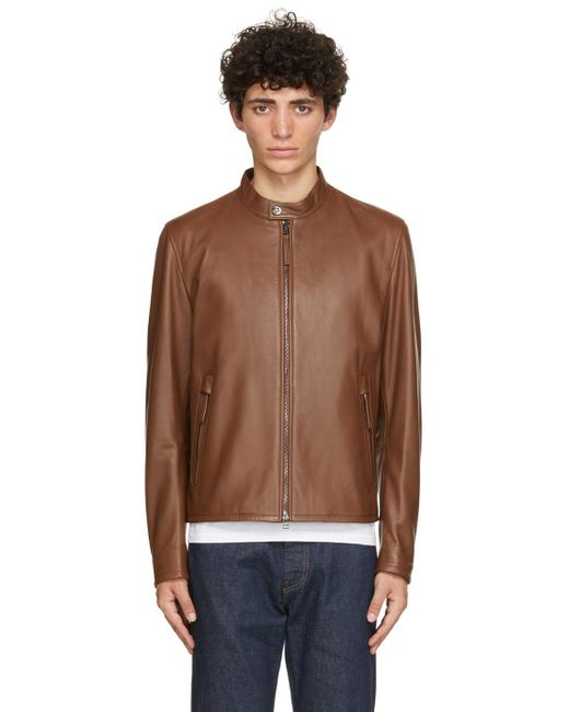 BOSS by Hugo Boss Brown Leather Gemos Jacket for men