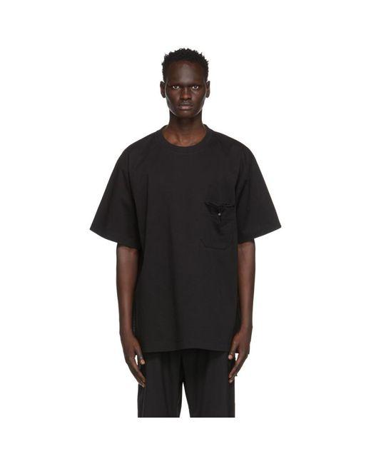 メンズ Y-3 ブラック ポケット T シャツ Black