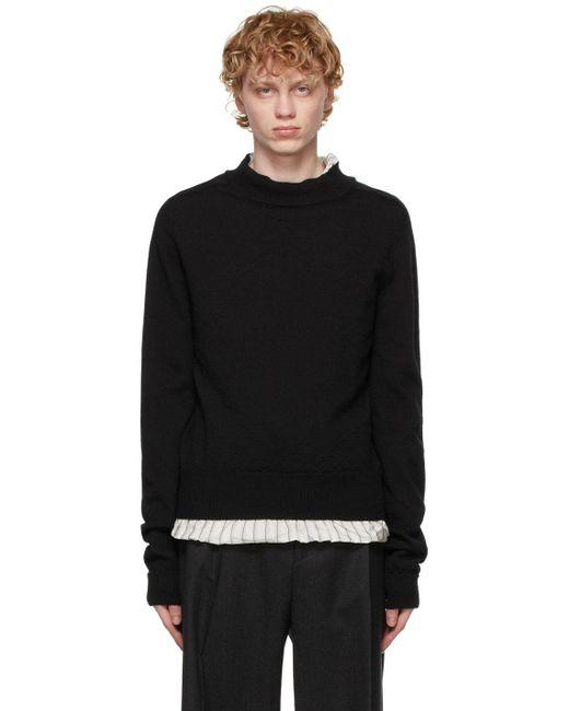 メンズ Maison Margiela ブラック モックネック セーター Black