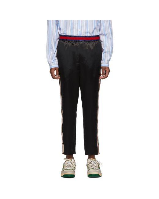 メンズ Gucci ブラック サテン トラウザーズ Black