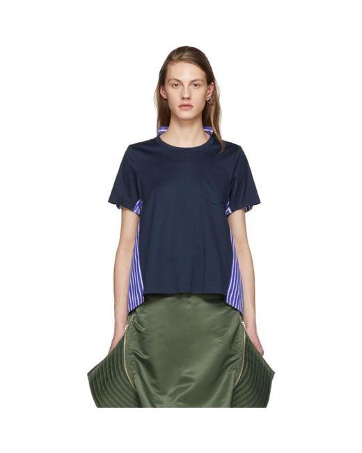 Sacai | Blue Navy Jersey And Striped Poplin T-shirt | Lyst