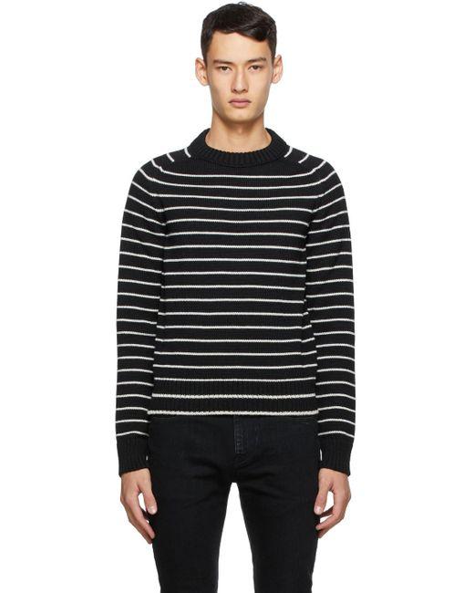メンズ Saint Laurent ウール ストライプ セーター Black