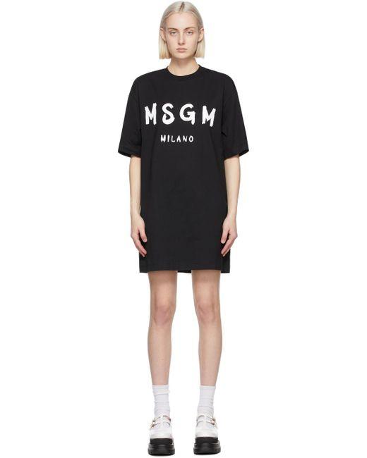 MSGM ブラック Artist ロゴ T シャツ ドレス Black