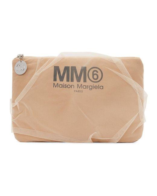 MM6 by Maison Martin Margiela ベージュ チュール カバー ポーチ Natural