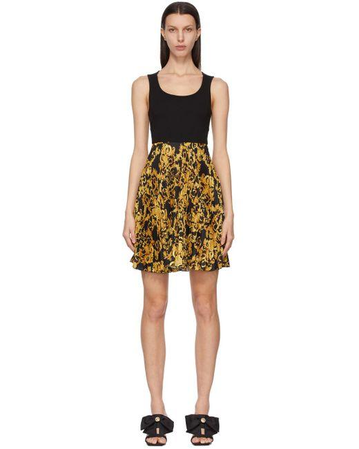 Versace Jeans ブラック Barocco ドレス Yellow