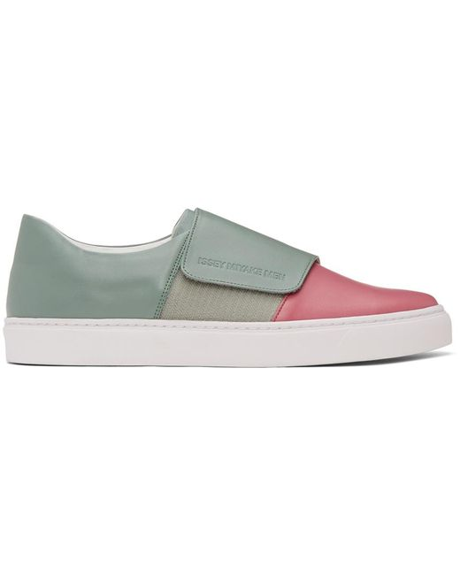 Issey Miyake Multicolor Pink & Green Strap Sneakers for men