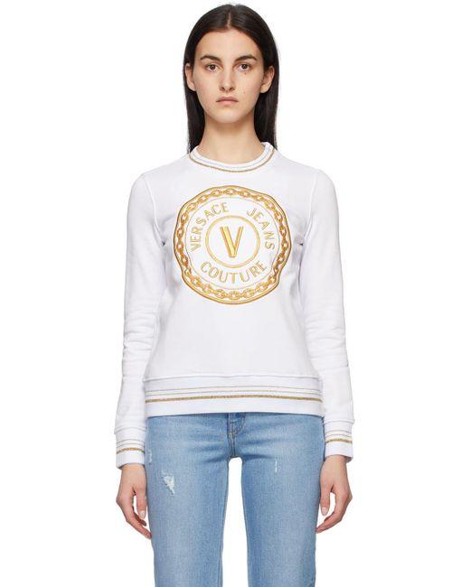 Versace Jeans ホワイト V Emblem スウェットシャツ White