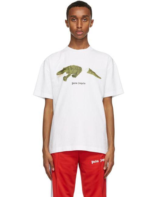 メンズ Palm Angels ホワイト Croco T シャツ White