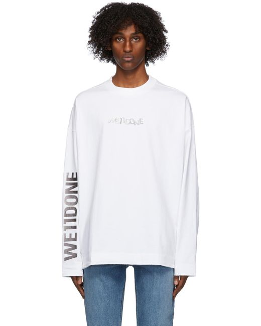メンズ we11done ホワイト メタル ロゴ ロング スリーブ T シャツ White