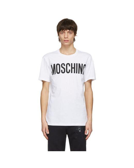 メンズ Moschino ホワイト ロゴ T シャツ White