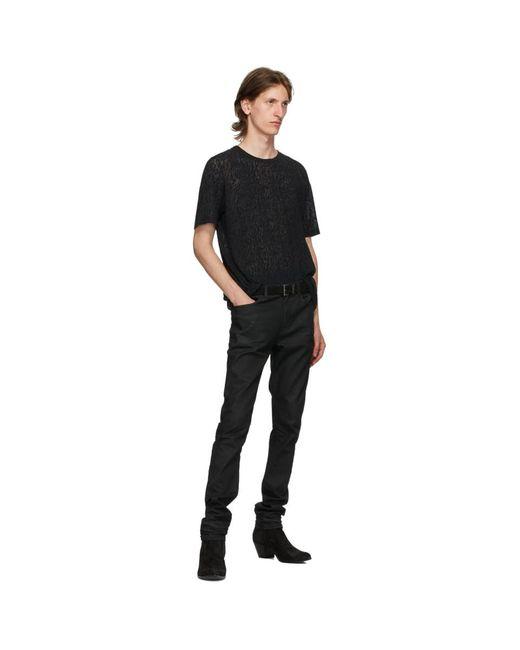 メンズ Saint Laurent ブラック スエード Monogramme ベルト Black