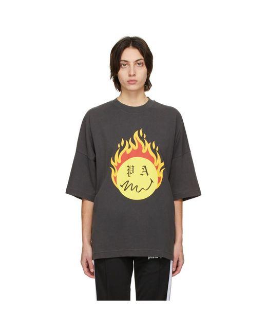 Palm Angels Smiley® エディション ブラック Burning Head T シャツ Black