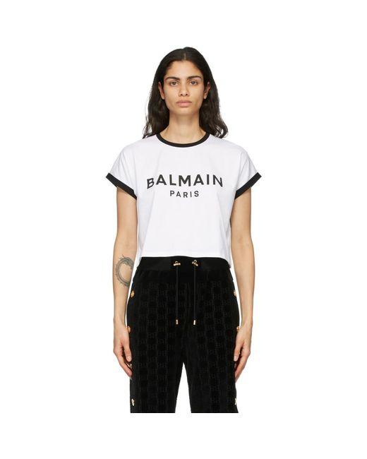 Balmain ホワイト And ブラック クロップド ロゴ T シャツ White