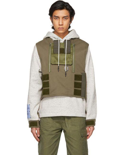 メンズ McQ Alexander McQueen グレー & ブラウン Armor フーディ Gray